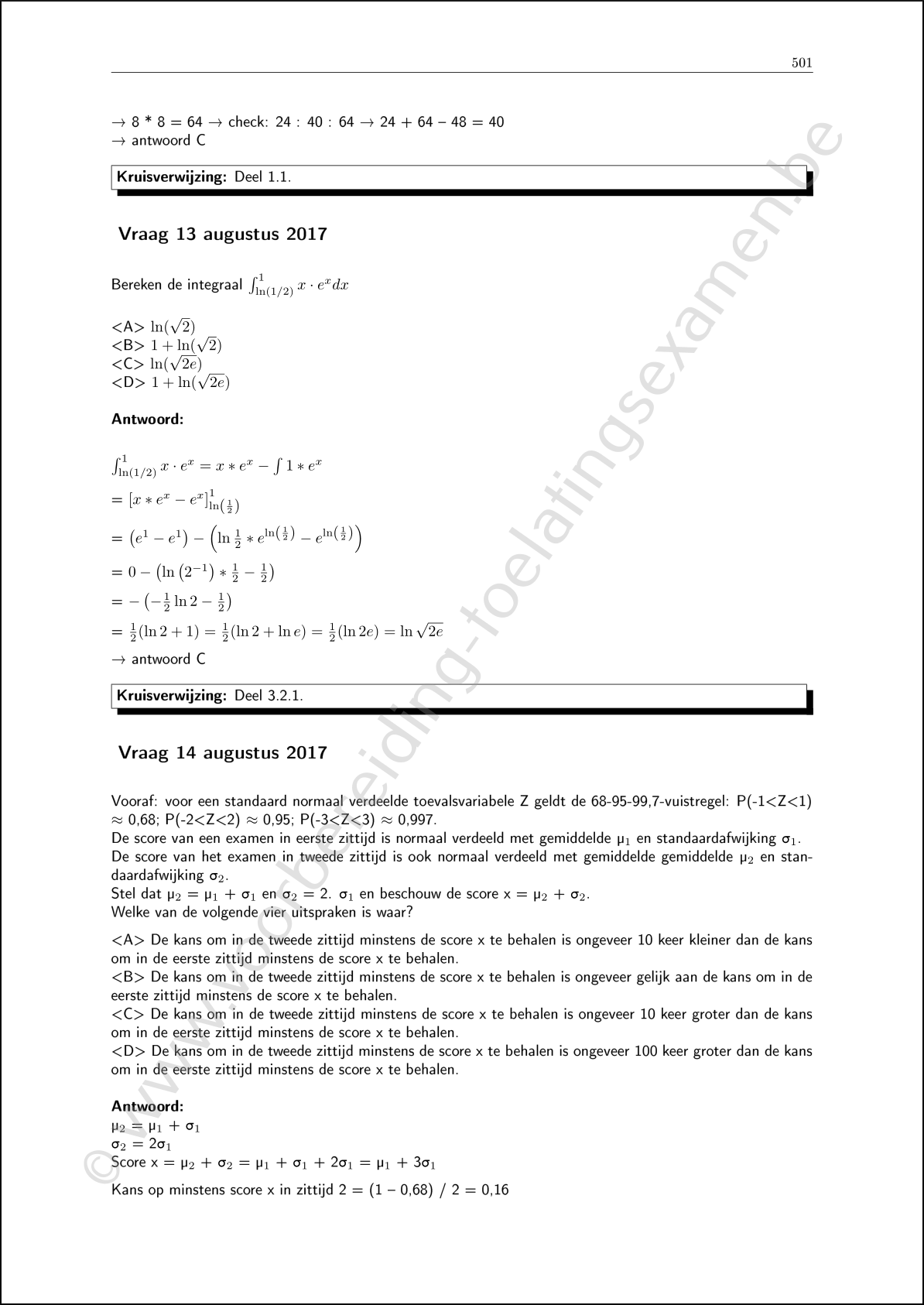 Ingangsexamen cursus examenvragen wiskunde